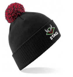 Stag Cricket Bobble hat in Black and red