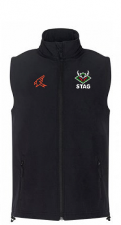 Black cricket gilet with full zip and Stag Cricket logo