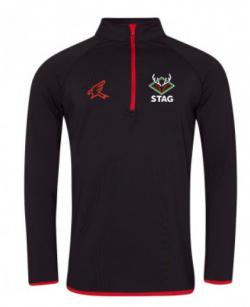 Black cricket hoodie with red trim complete with Stag Cricket logo