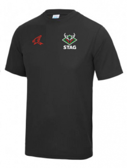 Black cricket activewear t-shirt with stag cricket logo